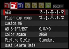 Canon AEB menu