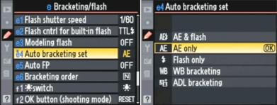 Nikon AEB menu
